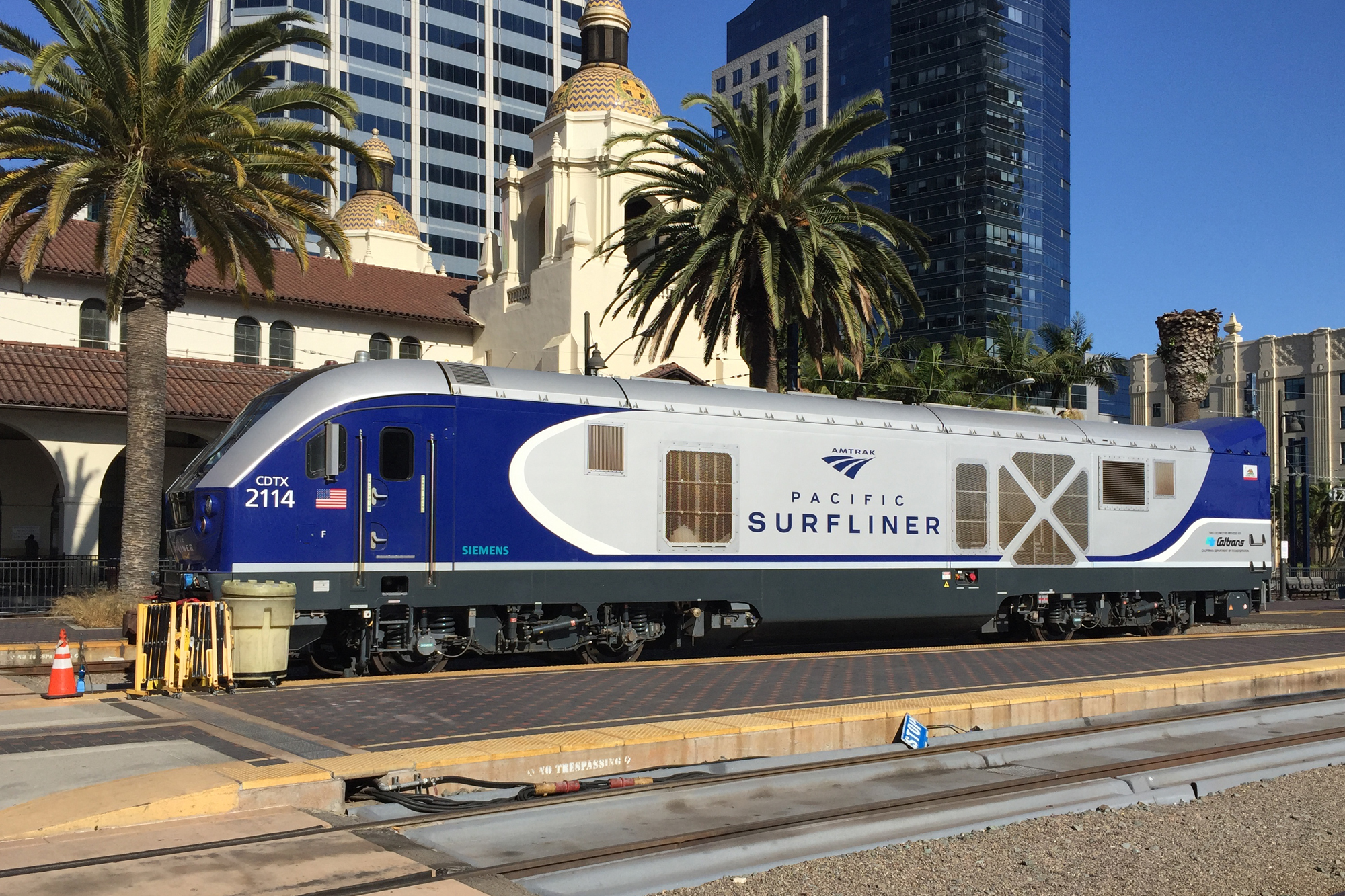 Pacific Surfliner at the Santa Fe train station at downtown San Diego (California, USA).