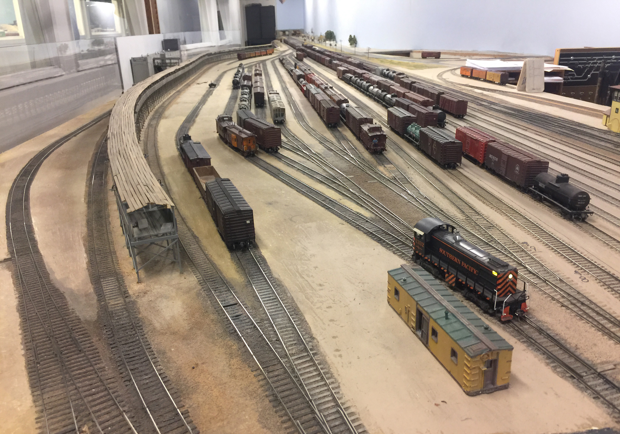 One of the many railroad yards at the La Mesa Model Railroad Club in San Diego, California, USA.